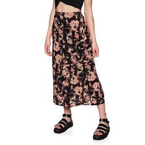 Free People || Floral Midi High Waist Skirt